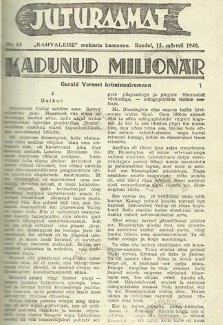 Kadunud miljonär - Gerald Verner krimka