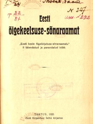 Eesti õigekeelsuse-sõnaraamat 1925. a